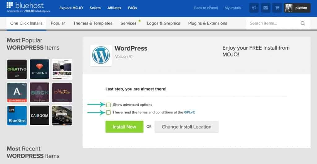 select advanced options on wordpress install