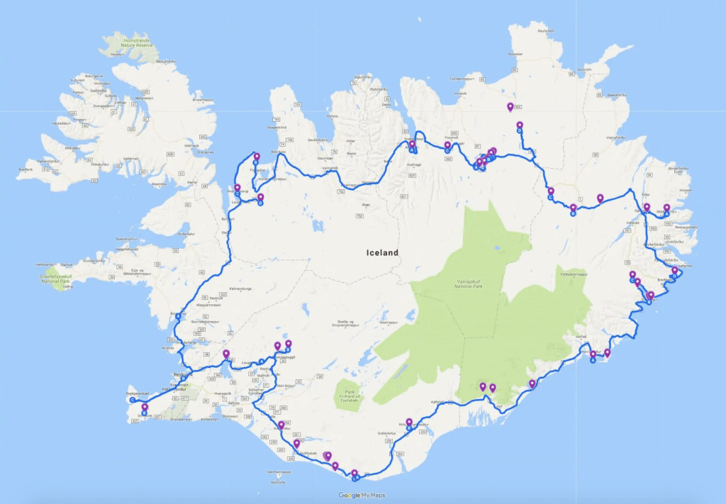 Ring Road Iceland Map